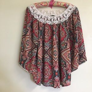 Tops - Fun top with crochet neck and sleeve detail